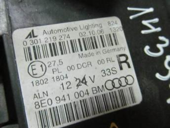 Фара правая Audi A4 RS4 ксенон 2007 - 2009 бу 8E0941030BM