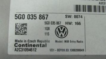 Панель управления и индикации + CD VW GOLF 7 БУ 5G0035867